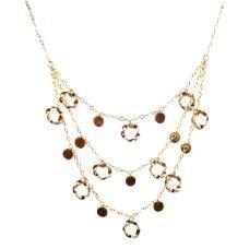 Triple strand circle drop necklace