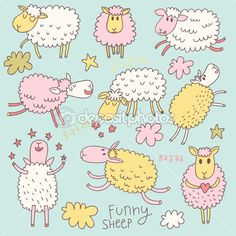 Funny cute sheep. Cartoon vector set in pastel colors. - Stock Illustration