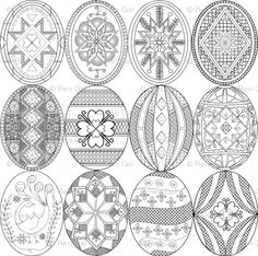pysanky designs | Pysanky, Easter Eggs (larger version; different designs)