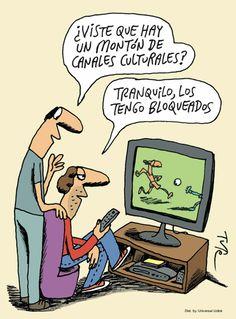 Un montón de canales culturales. Viñeta por Tute (Tutelandia). Librarian Humor, Funny Memes, Jokes, Frases Humor, Humor Grafico, Comic Strips, Lol, Comics, Humor In Spanish