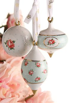 Royal Albert Polka Rose Ornaments, Set of 3... Just bought these for my Christmas tree this year