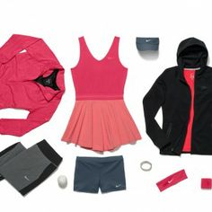 Serena Williams US Open 2013 Kit  Serena's kit includes Nike Baseline Half-Zip Top in Fusion Red Heather, Heathered V-Neck Dress in Fusion Red, Featherlite Visor in Armory Blue, Serena Premier Swoosh wrist and head bands in Fusion Red/White, Fuel Band, Slam Shorts in Armory Blue. Tech Pack Fleece Cape in Black, and inside that it looks like a Pure Top in Fusion Red.