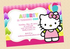 Hello Kitty Birthday Invitation Hello Kitty by graphicsmarket, $10.00