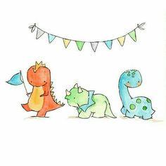 Illustration Kids Dinosaur Parade Nursery Art by ohhellodear Art Mignon, Kindergarten Art, Baby Art, Cute Illustration, Watercolor Illustration, Dinosaur Illustration, Nursery Art, Nursery Drawings, Easy Drawings