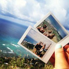 Polaroids on a beach vacation