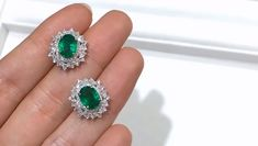 ct Natural Emerald Earrings Gold w/ Diamond w/ GRC Certificate Real Diamond Earrings, Emerald Earrings, Ring Earrings, Diamond Jewelry, Diamond Tops, Gold Earrings Designs, Beautiful Engagement Rings, Diamond Design, Vintage Earrings
