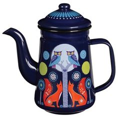 A beautiful Folklore Coffee Pot featuring the Night design. This stunning  enamelware coffee pot is illustrated with owls, foxes, flowers &  trees in an enchanted woodland. A dreamy story is told  without words in  a lush palette of rich dark blues, yellow and orange