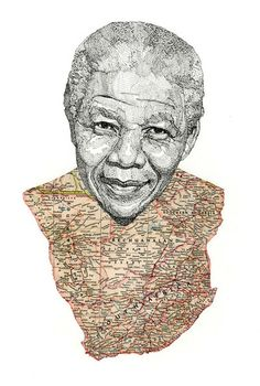 Pen portrait of Nelson Mandela with map of South Africa, by Jacob Everett Nelson Mandela, Mandela Art, Mandela Quotes, African Map, African History, Map Painting, South African Artists, Map Art, Creative Art