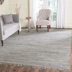 Safavieh Hand-woven Montauk Silver Cotton Rug (8' x 10') | Overstock.com Shopping - The Best Deals on 7x9 - 10x14 Rugs