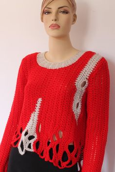 Red Off White Chunky Crochet Long Sleeved Sweater by levintovich