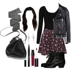 A fashion look from September 2015 featuring long sleeve cocktail dresses, leather biker jackets and flared skirts. Browse and shop related looks. Teen Wolf Outfits, Teenager Outfits, Teen Fashion Outfits, Retro Outfits, Grunge Outfits, Cute Casual Outfits, Stylish Outfits, Ropa Teen Wolf, Fandom Outfits