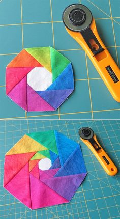 Patchwork block for a rainbow quilted coaster. #quiltedcoaster #patchworkquilt