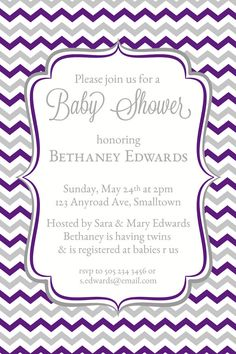 Baby Shower Invitations, Purple and Grey Chevron Invitations, Baby Shower Invites, Printable Shower Invitations, Trendy, Modern