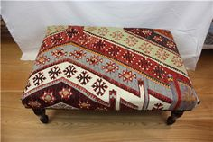 Antique Turkish Kilim Ottoman Stool Table   Size 90 x 60  by Rug Store, £395.00