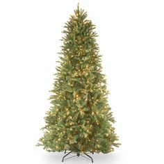 Tiffany Fir 7.5' Green Slim Artificial Christmas Tree with 600 Pre-Lit Clear Lights with Stand