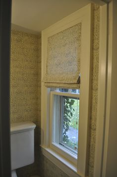 Rose Tarlow's faded fabric - gorgeous - small English powder room by Deepdale House LLC