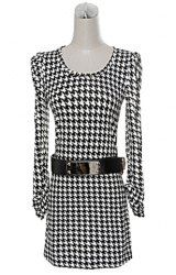 $12.50 Checked Puff Sleeves Worsted Scoop Neck Noble Style Color Block Thicken Dress For Women