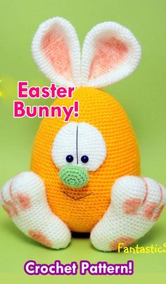 I'm so looking forward to spring. Here in the Netherlands, it is freezing cold. Still there áre signs out there that spring is… Easter Bunny Crochet Pattern, Crochet Penguin, Knitted Bunnies, Crochet Patterns Amigurumi, Crochet Dolls, Amigurumi Doll, Easter Toys, Easter Crafts, Holiday Crochet