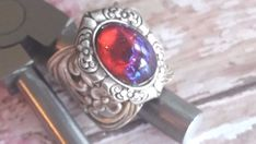 Fire Opal Ring with Ooak Dragon's Eye Catching in Victorian Setting Spring Sale #ArtistiqueJewelry