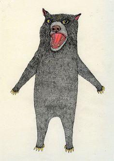 Cute Bear Illustration Print by FoxComet on Etsy, £13.00