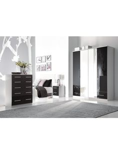 Cologne Gloss 2-Drawer Bedside Cabinet | very.co.uk