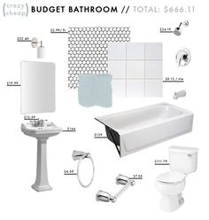 LOVE how Emily Henderson lays out a budget bathroom at the bottom of the post ($666.11 total!), and the post talks about different tile, counter, and flooring options.