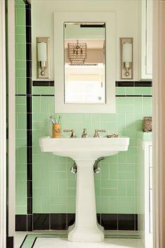 Vintage Bathroom Inspiration - My Mint and Pink Bathroom 1920s Bathroom, Art Deco Bathroom, Bathroom Tile Designs, Vintage Bathrooms, Small Bathroom, Bathroom Ideas, Bathroom Black, Bathroom Wall, Bathroom Modern