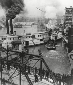 Looking down and watching ship activity-The Milwaukee River : circa 1886.
