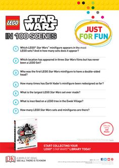 Looking for some fun Star Wars activities for your young Jedi? Star Wars Books, Star Wars Film, Star Wars Quiz, Activity Sheets For Kids, Free Lego, Lego War, Jedi Knight, Nonfiction Books, Lego Sets