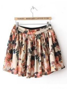 gamesinfomation.com Beige High Waist Floral Pleated Skirt coupon| gamesinfomation.com