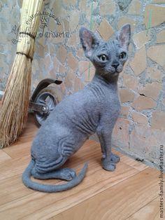 Needle felted Sphinx Cat by Yuliya Tarasova, Ukraine