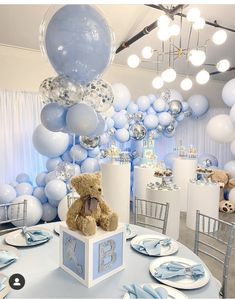 Had to repost this absolutely gorgeous set up by Rachel. It makes me want to plan a baby shower. Baby Shower Table Decorations, Boy Baby Shower Themes, Baby Shower Balloons, Baby Shower Fun, Baby Shower Centerpieces, Teddy Bear Centerpieces, Baby Showers, Peanut Baby Shower, Baby Shower Baskets