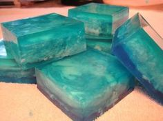 "A unique swirled melt and pour soap project: Finished Bars of ""Cool Water"" Melt and Pour Soap Project"