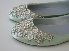 Spring Garden Bridal Ballet Flats Wedding Shoes - Any Size - Pick your own shoe color and crystal color. $185.00, via Etsy.