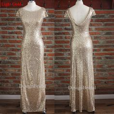 Gold Bridesmaid Dresses,Drape Down Backless Evening Dress,Foor Length Evening Gown,Long Evening Prom Gowns,Sequins Formal Dress for Wedding