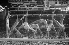 Multiple exposure shot of Nadia Comaneci's routine on the balance beam at the 1976 Montreal Olympic Games.