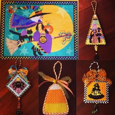 Finished Halloween needlepoint ornaments in this collage from Luv's 2 Stitch in San Mateo, Ca.