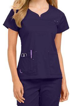 8d5162062ec Med Couture MC2 Lexi Notch Neck Scrub Tops in Plum Scrubs Outfit, Scrubs  Uniform,