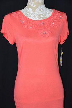 INC Womens Medium Coral NEW Short Sleeve Crochet Rhinestones Neckline Shirt Top #INCInternationalConcepts #KnitTop #Casual