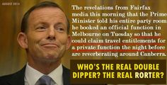 2014: Abbott swings by a hospital in order to claim entitlements for a pvt function. THAT'S double dipping! #AusPol