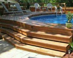 above ground pool deck designs with steps : Swimming Pool Deck Designs. design a pool deck,pool deck design ideas,swimming pool deck,swimming pool deck ideas,wooden pool decks Oberirdischer Pool, Small Swimming Pools, Above Ground Swimming Pools, In Ground Pools, Above Ground Pool Landscaping, Backyard Pool Landscaping, Landscaping Ideas, Backyard Ideas, Wooden Pool Deck