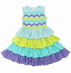 Lemon Loves Lime Girls Aqua / Lime Green / Purple Petunia Mermaid Dress