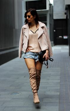 www.streetstylecity.blogspot.com Fashion inspired by the people in the street ootd look outfit sexy heels legs otk boots hotpants pretty-little-thing-over-the-knee-boots-blush-jacket-one-teaspoon-denim-shorts-9
