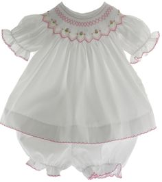 Hiccups Childrens Boutique - Infant Girls White Pink Smocked Dress Set with Bloomers, $40.00 (http://www.hiccupschildrensboutique.com/infant-girls-white-pink-smocked-dress-set-with-bloomers/)