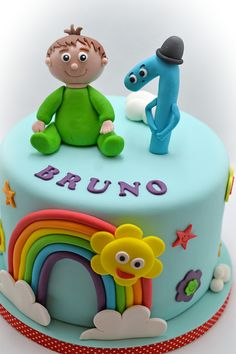 Need a birthday cake for a party in Brussels? Need a corporate cake? We will design your cake with pleasure. Call us on 483 69 09 63 to book your cake. Baby Tv Cake, Different Kinds Of Cakes, Rainbow Theme, Character Cakes, Fondant Figures, 1st Birthdays, Creative Cakes, Cakes And More, Baby Shower Cakes