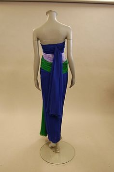 A Jacqueline de Ribes swathed chiffon evening gown, 1980s, labelled, Paris-New York, size 0/S, with tri-colour panels and trailing of blue, lilac and emerald green. Back