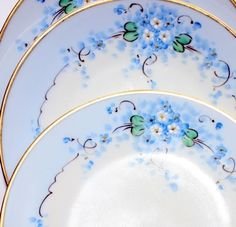 Set 3 Antique Stouffer Dessert Plates Forget me No