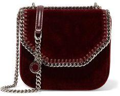 Stella McCartney - The Falabella Box Mini Velvet Shoulder Bag - Burgundy