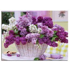 Pintura de diamantes de punto de cruz Púrpura cestas de flores patrón de mosaico y bordado de Diamantes y Plaza llena rhinestone kits de costura