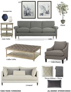 Columbus, GA Online Design Project Family Room Furnishings Concept Board.